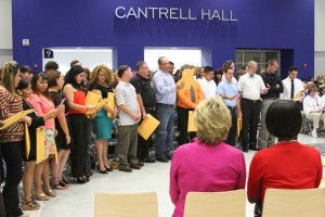 New members to the National Technical Honor Society recited the membership pledge at the induction ceremony