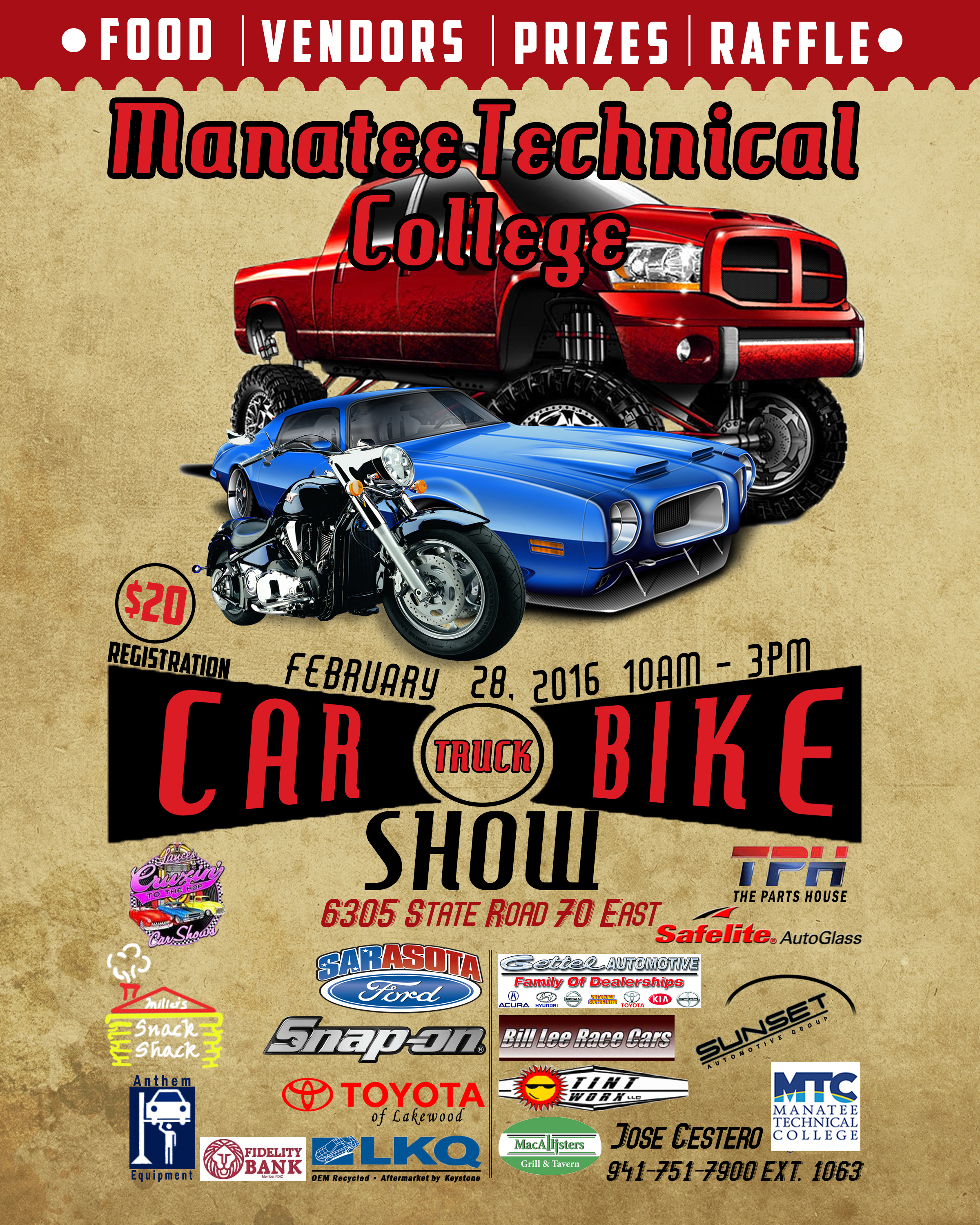 CarShowFlyerFinal Manatee Technical College - Lakewood ranch car show today